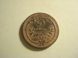 2 heller 1899 zöld patina