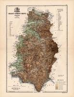 Krassó - Szörény megye térkép 1888, Magyarország, vármegye, atlasz, Kogutowicz Manó, 43 x 56 cm