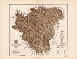 Sáros megye térkép 1885, Magyarország, vármegye, atlasz, Kogutowicz Manó, 43 x 56 cm, eredeti