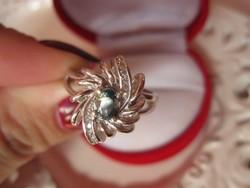 IGAZI RITKASÁG! Kék-sárga zafír 925 ezüst gyűrű - 1,7 cm
