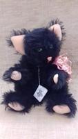 Régi szép állapotú  jelzett fekete macska üveg szemekkel hosszú bajusszal