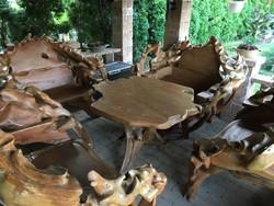 Teak fából faragott kültéri ülőgarnitúra szett