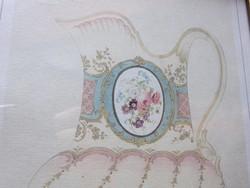 Arany színű képkeret antik rózsás kannával