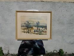 Szalóky Sándor (1921 - 1978) gyönyörű képcsarnokos festménye