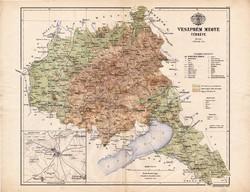 Veszprém megye térkép 1886, Magyarország, vármegye, atlasz, Kogutowicz Manó, 43 x 56 cm, eredeti