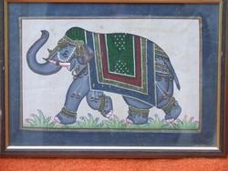 Selyemre festett elefánt kép