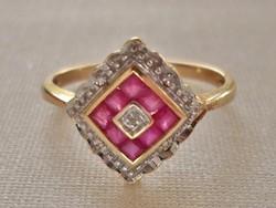 Szépséges antik art deco valódi rubin,gyémánt aranygyűrű