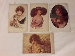 Antik képeslap négy darab