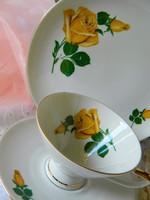 Sárga rózsás Winterling porcelán reggeliző szett, csésze-kistányér