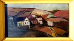 Papp László (Miskolc 1922) - A falu képcsarnokos olajfestmény