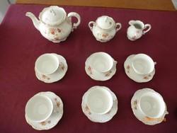 Zsolnay porcelán teás készlet, hiánytalan,hibátlan, gyönyörű régi rózsamintás jelzett darabok