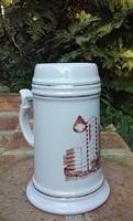 Retro Hollóházi porcelán ajándék emlék korsó