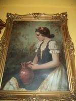 Szász István kvalitásos festmény Lány korsóval