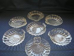 Kagyló formájú üveg desszertes tálka