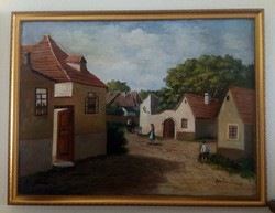 Kovács József kortárs falusi utcakép, olaj-vászon