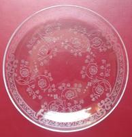 Antik csiszolt üveg kistányér - 15 cm. átmérő - üveg