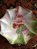 Szép, mákvirágos, finom porcelán tányér