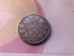 1872 belga ezüst 5 frank gyönyörű darab 25 gramm 0,900