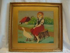 Üvegezett arany - fa képkeret gobelin falc 44x49 cm