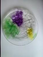 Üveg dísztál tál szőlő mintával
