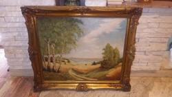 Jelzett olaj-vászont tájkép blondel keretben 70x82 cm