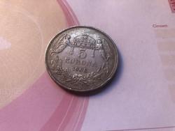 1908 ezüst magyar 5 korona KB ritkább,szép