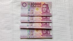 Új.2015 évi 10.000.-Ft-os bankjegy  4.db sorszámkövető UNC