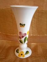 Kézzel festett, mázazott virág és pillangó mintával festett kerámia kehely váza 26 cm