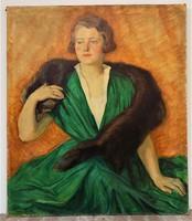 Udvary Dezső (1891-1975) Hölgy prémgallérral olajfestmény100x85cm EREDETI Garanciával !!!