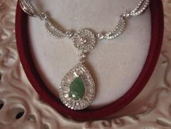 Valódi, cseppalakú smaragd jelzett 925 ezüst collier nyaklánc, nyakék