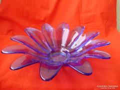 Antik virágalakú üveg gyümölcsöstál vagy desszertes