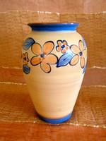 Kézzel festett, belül mázazott virág mintás kerámia váza 22 cm
