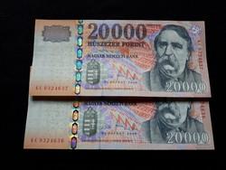 2008 évi, 20.000.-Ft-os bankjegy , UNC:  1.-db