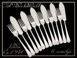 Art Deco ezüstözött halkészlet
