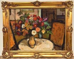 Balogh Ervin ( 1925-) Virágcsendélet c olajfestménye 100x80cm EREDETI GARANCIÁVAL !!!