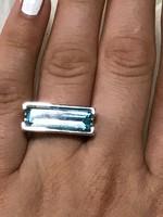 Mesés ezüst gyűrű akvamarin 17mm átmérő