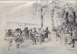 Max Liebermann 'Kaffegarten an der Havel szignós litográfia, 1910