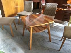 Régi retro polcos magasfényű fa asztal 60-as évek