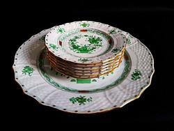 Herendi indiai kosár mintás süteményes készlet