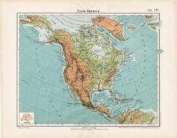Észak - Amerika hegy- és vízrajzi térkép 1906, magyar atlasz, eredeti, magyar nyelvű, régi, USA