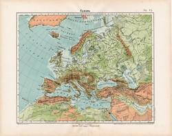 Európa hegy - és vízrajzi térkép 1906, magyar atlasz, eredeti, régi, magyar nyelvű, földrajz