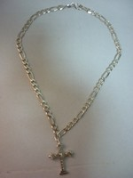Ezüst nyaklánc antik keresztel