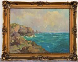 Zórád Géza (1880-1964 körül) Sziklás tengerpart c olajfestménye 95x75cm EREDETI GARANCIÁVAL !!!