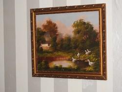 Várhegyi Rozália festőművésznő alkotása, -Falusi ház- olajfestmény, szignált, eredeti! 69 x 60 cm