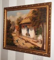Várhegyi Rozália festőművésznő alkotása - Falusi udvar - olajfestmény, szignált, eredeti! 69 x 60 cm