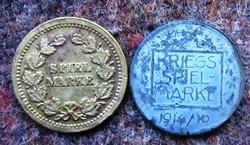 2db Játék pénz Spiel Marke.1/réz spiel marke, 2/ I.VH. 1914 kriegs spiel marke