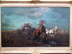 Óriási Viski János festmény (1891-1961) Vágtató szekér - Tekintélyes-, értékálló- műtárgy!