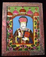 Szent Miklós ikon üvegre festve