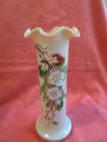 Fújt, szakított antik fodros szélű virágos üveg váza