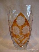 Gyönyörű csiszolt pácolt üveg váza